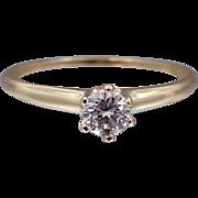 14k Gold 1/4 Carat Diamond Solitaire Circa 1930s Ring w/Box