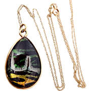 14k Gold Victorian Butterfly Wing Rock Crystal Necklace Double Side Pools of Light
