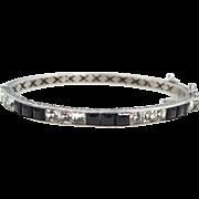 Edwardian Sterling Silver and Princess Cut Black & White Crystals Bangle Bracelet