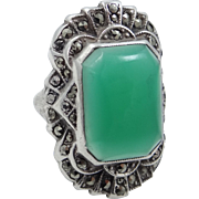 1920s Sterling Silver, Marcasites and Green Cabochon Glass Ring