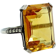 European Sterling, Marcasites & 14 Carat Citrine Lady's Ring