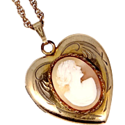 Retro Gold Fld. Carved Shell Cameo Heart Locket and Chain