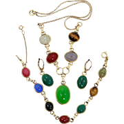 Gold Filled Semi-Precious Gemstones Scarab Parure Necklace, Bracelet and Earrings
