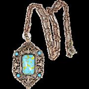 Czech Glass Faux Turquoise Filigree Art Deco Necklace