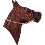 1930's Carved Wood Horse Head Pin with Red Harness