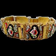 Vintage Mosaic Gilt Brass Etruscan Bracelet