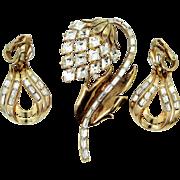 Trifari Alfred Philippe Rosey Gold Tone Flower Pin w/Earrings