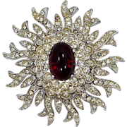 Kenneth Lane Ruby Red & Clear Crystals Flower Pin