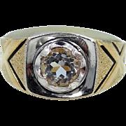 Retro Man's Gold 18K H.G.E. Faux Diamond Ring
