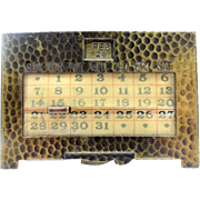 Vintage K&C Co.  Kronheimer & Oldenbusch Co. Gilt Bronze Colored Brass Perpetual Calendar