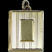 14k Solid Gold Book Shape Multi Compartment Locket Pendant Charm