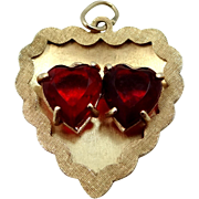 14k Solid Gold Double Ruby Red Heart Charm
