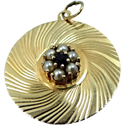 14k Solid Gold Seed Pearls & Sapphire Charm