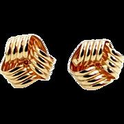 14k Gold Love Knot Pierced Earrings