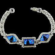 Vintage Silver Butterfly Wings Scenic Bracelet Morpho