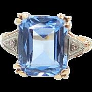 14k Gold Retro 5 Carat Aquamarine and Diamond Ring