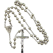 Vintage Sterling Silver Religious Rosary With Rhodium Plating