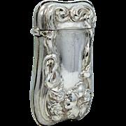 Signed G. Silver Art Nouveau Match Safe German Silver