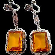 Art Deco Sterling Silver and Topaz Glass Enamel Dangle Earrings