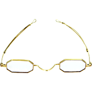 18k Gold Victorian Eyeglasses with Adjustable Arms on Frame