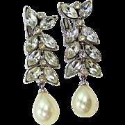 Ciner Rhinestones and Faux Pearls Dangle Shoulder Duster Earrings