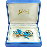 CoroCraft Coro Duette Blue Rhinestones Pin [s] with Original Box