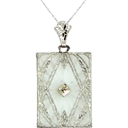 "Unusual 14k White Gold ""Rectangle Shaped"" Filigree Camphor Glass and Diamond Necklac"