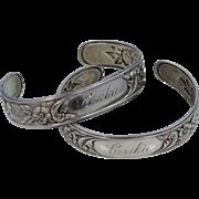 Matching Kirk & Son Sterling Silver Floral Cuff Bracelets Wedding Bracelets