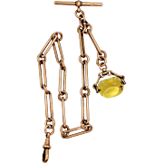 Victorian 9k Rose Gold Watch Chain with HUGE Citrine Fob