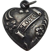 Victorian Sterling Silver Puffy Heart I Love U Charm