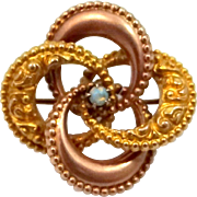Victorian 10k Rose Gold and Yellow Gold Opal Love Knot Pin