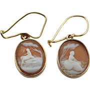 Victorian 14k Gold Carved Shell Cameo Dangle Earrings