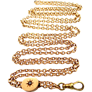 14k Solid Gold Victorian Seed Pearl Slide Chain Almost 35 Grams of Gold