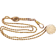 Victorian 10k Gold Seed Pearls Slide Watch Chain