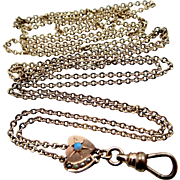 Victorian 10k Opal & Seed Pearls Slide on Gold Filled Lorgnette or Muff Chain