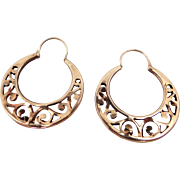 Antique 10k Gold Filigree Hoop Earrings