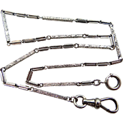 SOLD Art Deco White Gold Filled Finely Etched Watch Chain