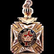 Antique In Hoc Signo Vinces Masonic Medal Knights Templar Fob