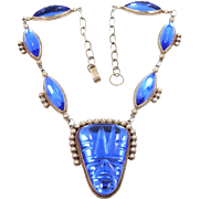 1940s Mexico Sterling Silver & Rich Blue Crystal Aztec Face Necklace Pre Eagle Mark CuB