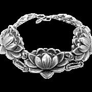 1940s Danecraft Sterling Silver Water Lily Bracelet Felch Co. Mark