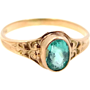 Victorian 10k Gold Emerald Green Paste Stone Baby Ring