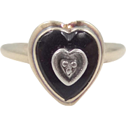 10k Gold Black Onyx and Diamond 1940's Lady's Size 7 Ring
