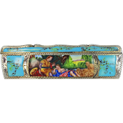 Art Deco Turquoise Enamel 800 Silver Comb with Case Courting Couple Nude