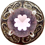 Small Scottish Kilt Pin with Amethyst Glass Stone