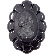 Jet Black Bakelite / Celluloid Cameo Mourning Pin