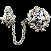 14k White Gold Diamonds and Enamel Eastern Star Masonic Scatter Pins