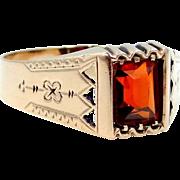 10k Gold Victorian Man's Garnet Ring Etched Shoulders