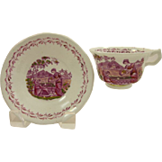 SALE PINK LUSTER 1820s  Rebecca at the Well cup and saucer