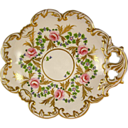 CROWN DERBY King St. 'Rose Barbeau' gilded corner plate