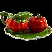 ROYAL BAYREUTH c1902 antique tomato creamer sugar & underplate Tettau Porcelain Bavaria